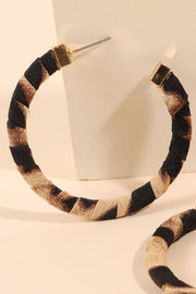 Animal Print Fabric Wrapped Hoop Earrings