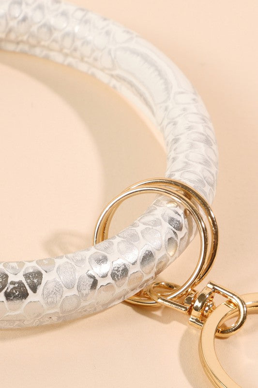 Snake Skin Metallic PU Leather Key Chain