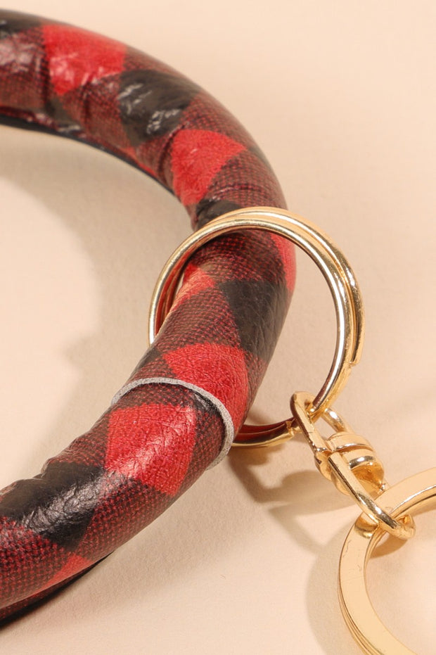 Buffalo Plaid PU Leather Key Chain