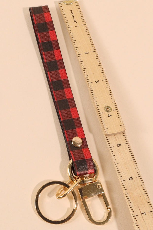 Buffalo Plaid PU Leather Key Strap