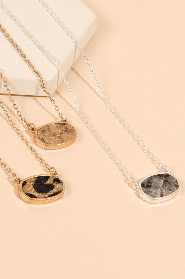 Animal Print Calf Hair PU Leather Charm Necklace