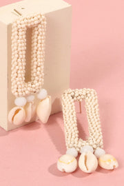Square Cut Out Seed Beads Cowrie Shell Earrings