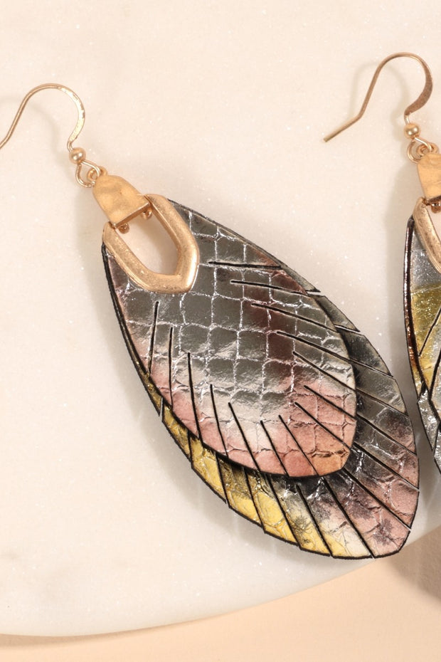 Layered Feather Leather Earrings