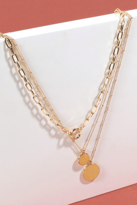 Chain Linked Metal Discs Layered Necklace