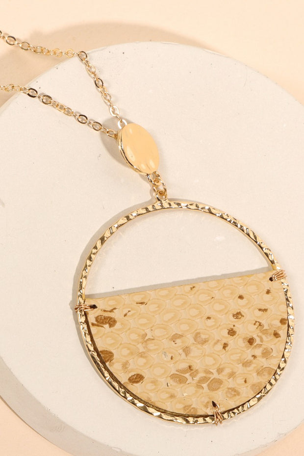 Snake Skin PU Leather Pendant Long Necklace