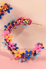 Seed Beaded Floral Hoop Earrings