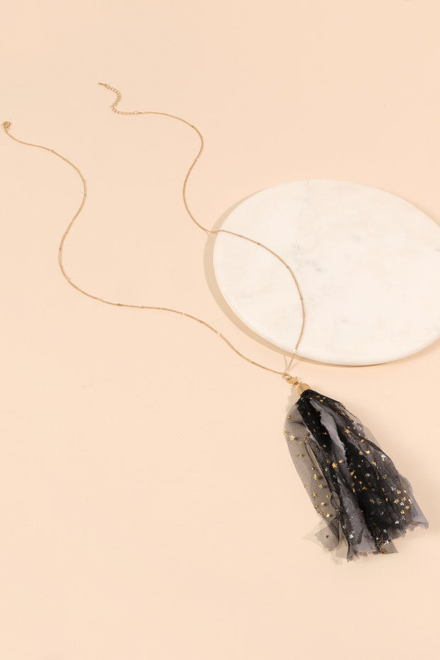 Fabric Mesh Tassels Pendant Long Necklace