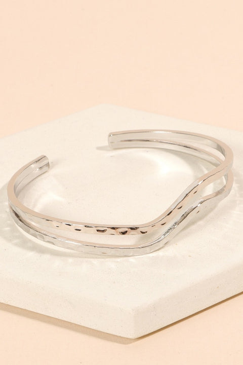 Wavy Metal Layered Cuff Bracelet