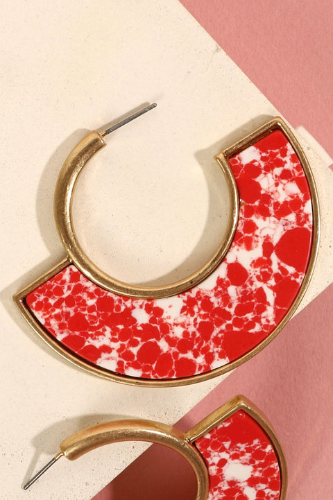 Marbled Acetate Semi Circle Hoop Earrings