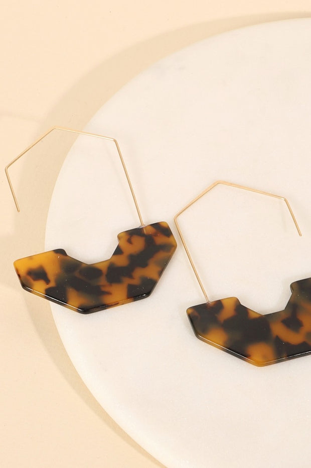 Geometric Half Acetate Hoop Earrings