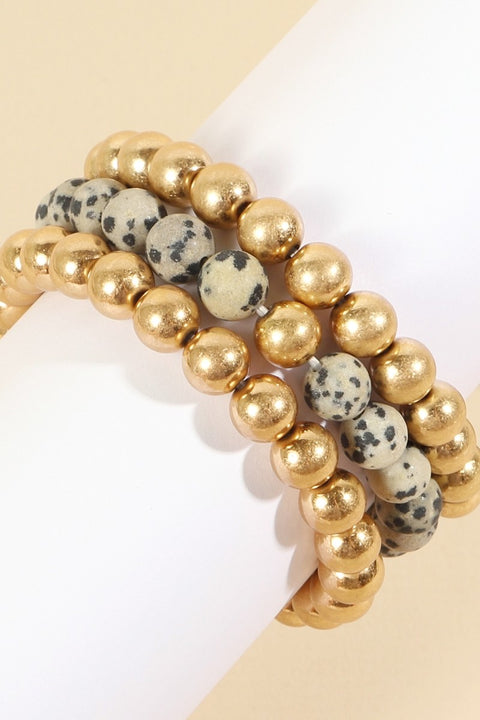 Natural Stones Metal Beads Layered Bracelet