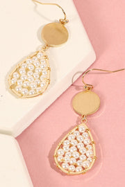 Tear Drop Pearl Decorated Dangling Earrings