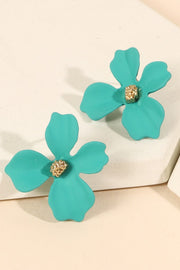 Floral Color Coated Metal Stud Earrings