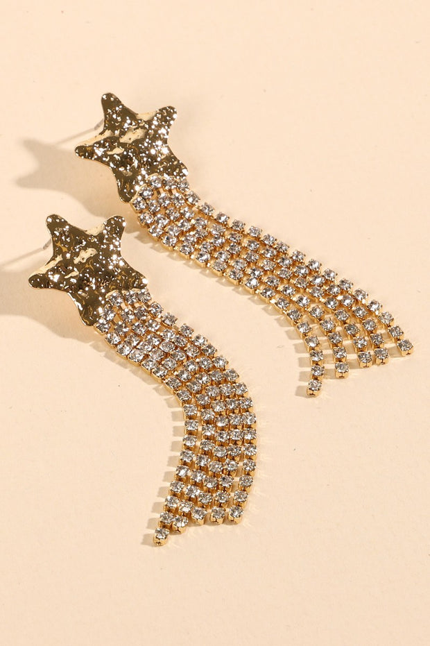 Star Crystals Metal Tassels Earrings