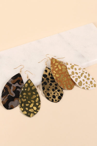 Animal Print Metallic Glitter Feather Earrings
