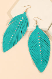 Feather Suede Leather Rhinestones Earrings
