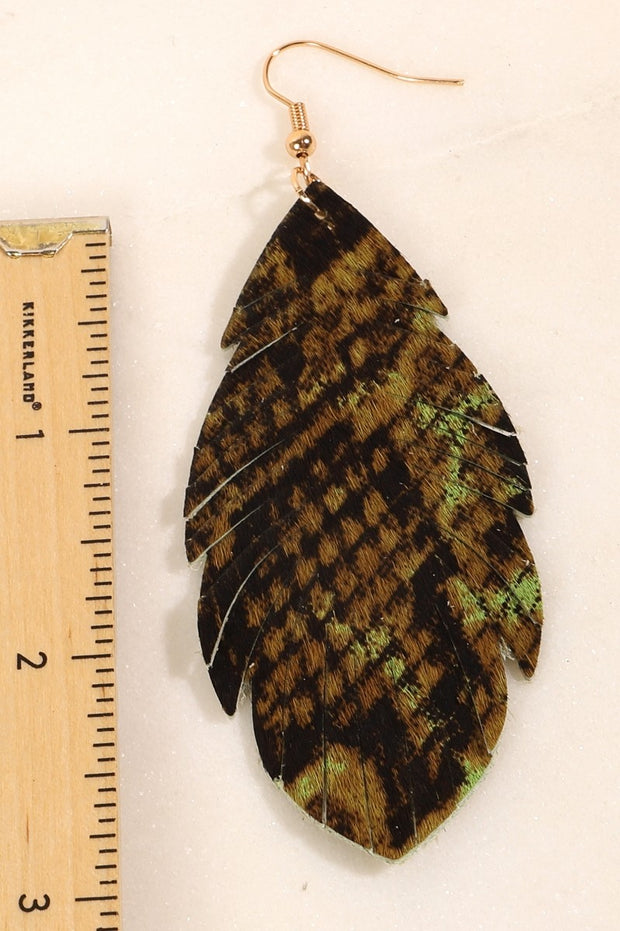 Snake Skin Print Leather Feather Earrings