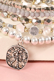 Metal Glass Beads Coin Charm Bracelet Set