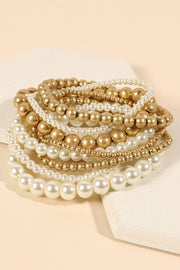 Pearl Metal Beads Layered Stretch Bracelet