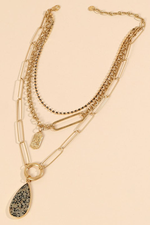 Natural Stone Rhinestones Layered Necklace