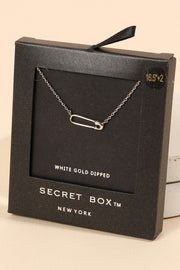 Secret Box Safety Pin Pendant Gold Dip Necklace