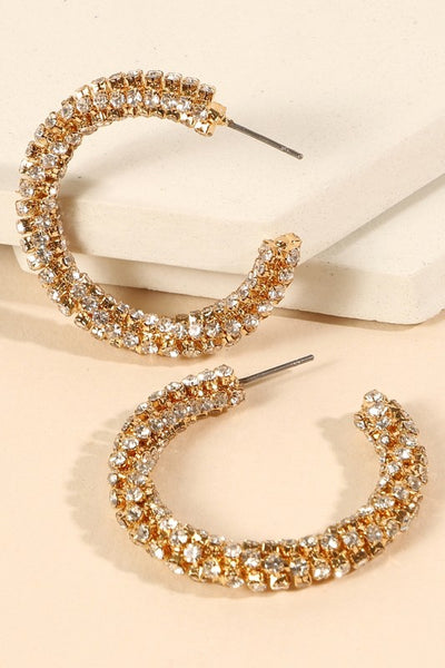 Rhinestones Twisted Open Hoop Earrings
