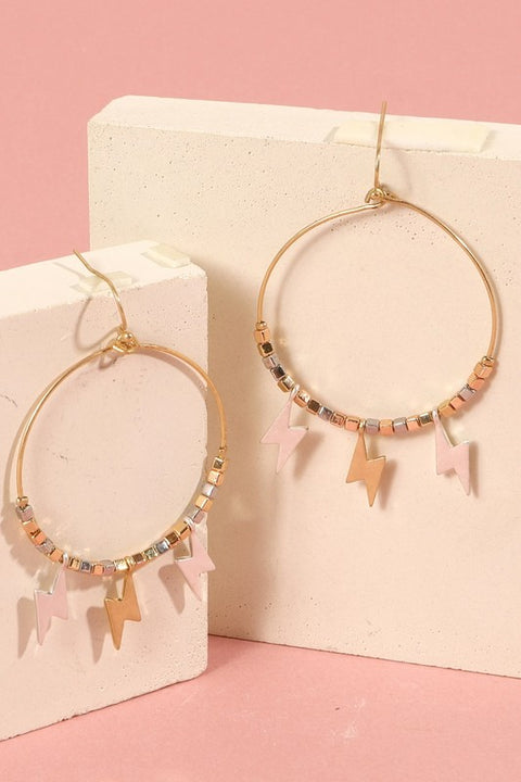 Thunder Bolt Charms Metal Hoop Earrings