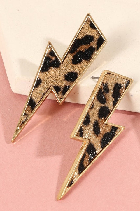 Thunder Bolt Animal Print PU Leather Earrings