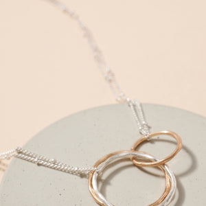 Linked Organic Rings Layered Necklace