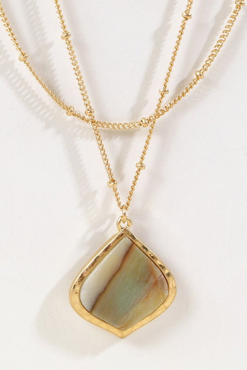 Natural Stone Pendant Layered Long Necklace