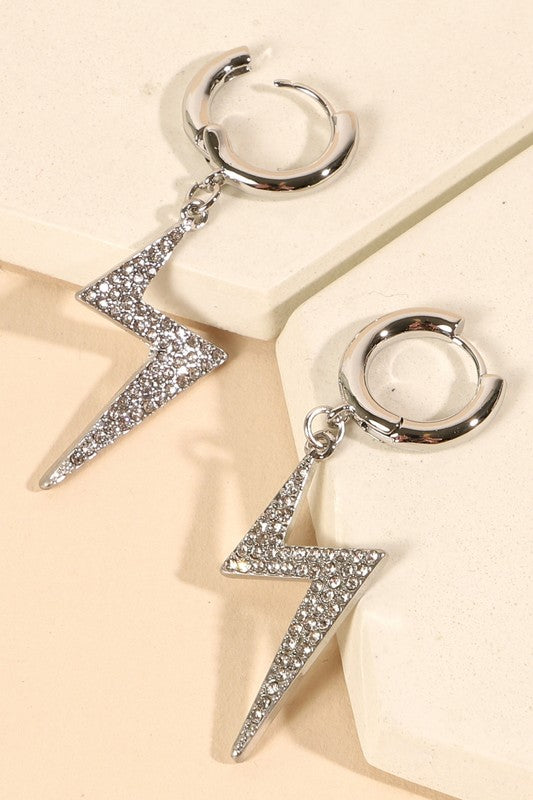 Thunder Bolt Rhinestones Dangling Earrings