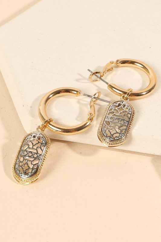 Filigree Cut Out Charm Hoop Earrings