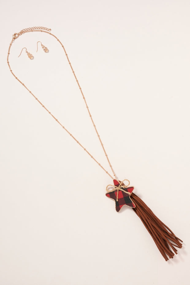 Buffalo Print Star Charm Tassels Necklace