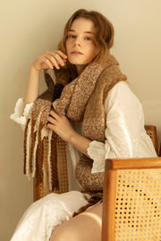 Earth Tone Plaid Soft Scarf with Fringe