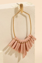 Suede Leather Fringed Metal Dangling Earrings