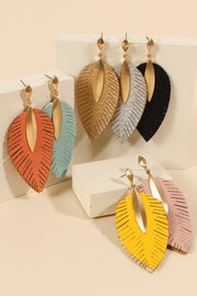Feather Leather Dangling Earrings