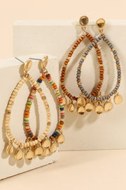 Wood Beads Metal Charms Tear Drop Earrings