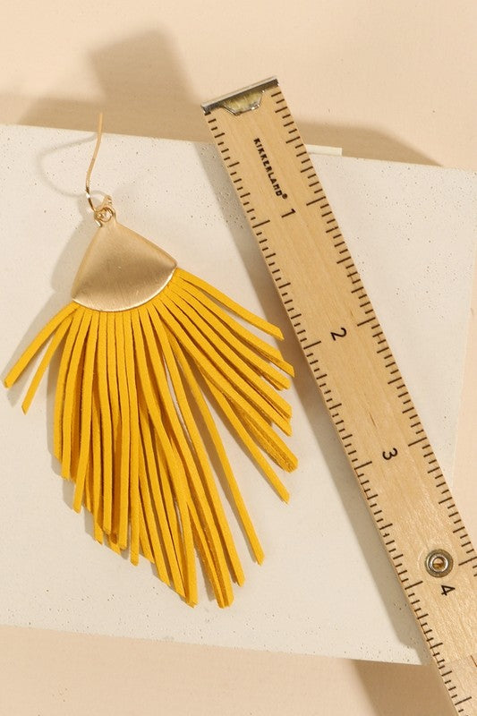 Leather Fringed Dangling Earrings