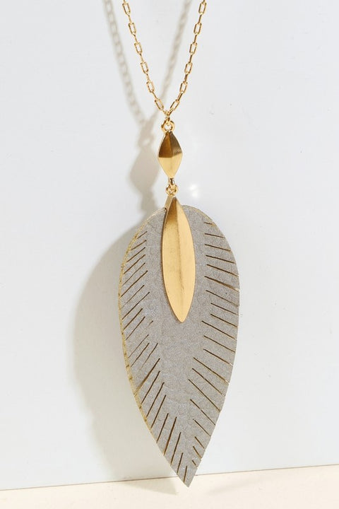 Leather Feather Pendant Long Necklace