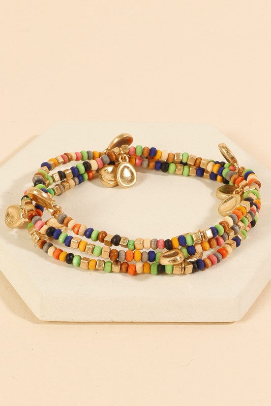 Wooden Beaded Metal Charms Layered Bracelet