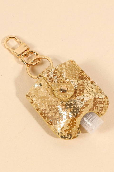 Snake Skin Print Leather Mini Sanitizer Holder