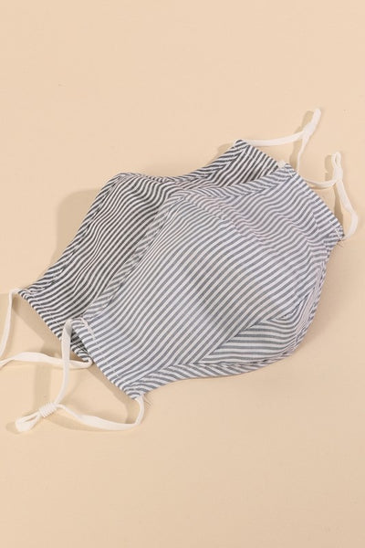 Pin Striped Washable Filter Pocketed Face Mask