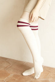 Striped Over the Knee High Socks