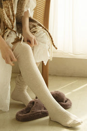 Cable knit Over the Knee High Socks