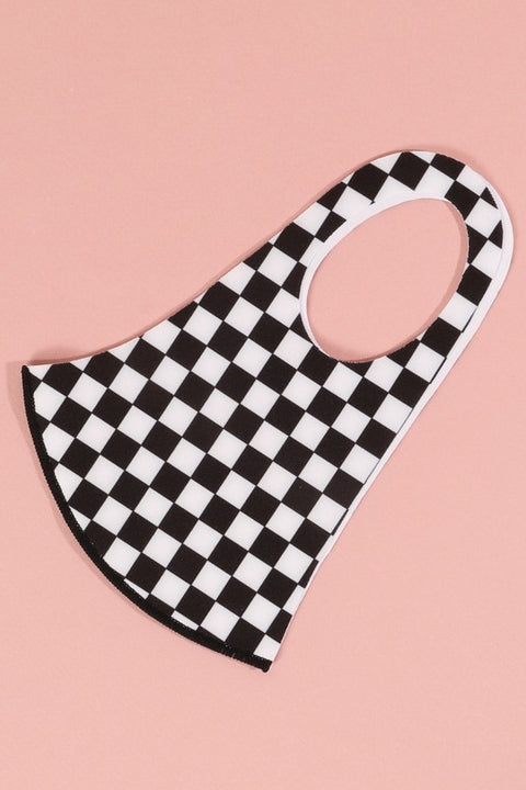Black & White Checker Anti-bacterial Face Mask