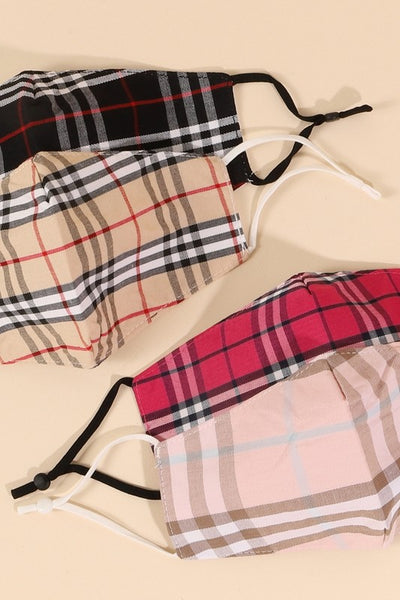 Assorted Classic Plaid Pattern Face Masks