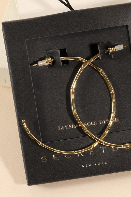 Secret Box Bamboo Gold Dip Hoop Earrings