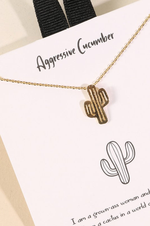 Cactus Charm Gold Dip Short Necklace