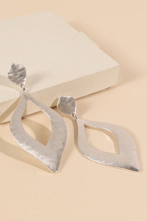 Lotus Leaf Metallic Drop Earrings