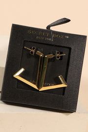 Trapezoid Open Hoop Gold Earrings